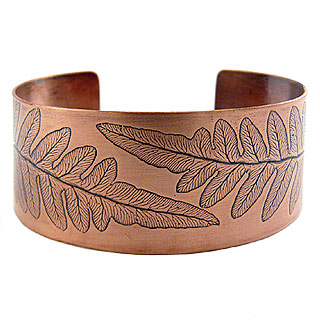 Copper Fern Leaf Cuff Bracelet