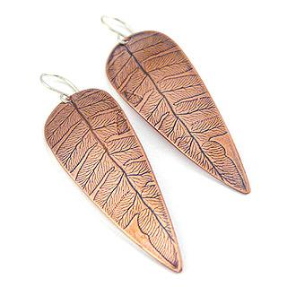 Copper Fern Leaf Earrings