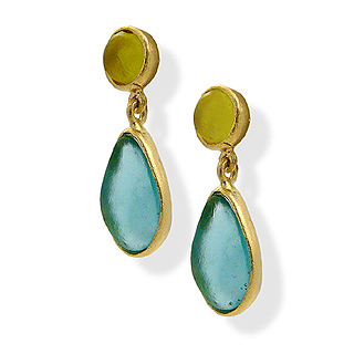 Lime Green and Teal Artisan Glass and Gold Plated Drop Earrings