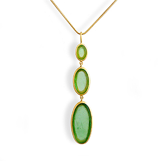 Lush Green Artisan Glass and Gold Plate Triple Drop Necklace