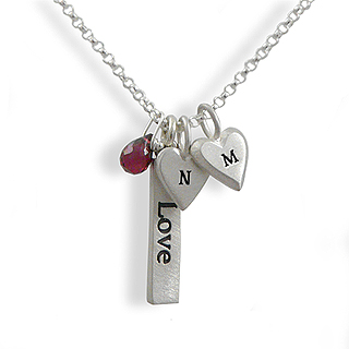 Sterling Silver Love Charm Necklace with Personalized Heart Initials