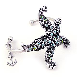 Swarovski Crystal Starfish Cuff Bracelet