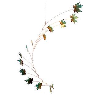 Copper Maple Leaf Indoor/Outdoor Mobile, 14-Leaf Large Version