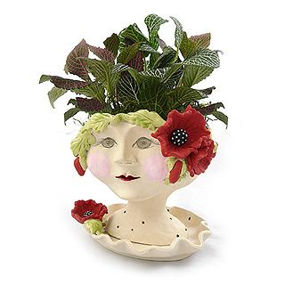 Victorian Lovelies Head Planter - Poppy Laurel Version