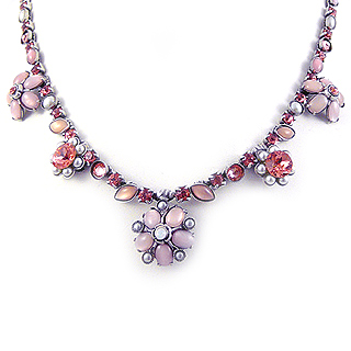 Peach Rose Flowers Pewter Necklace