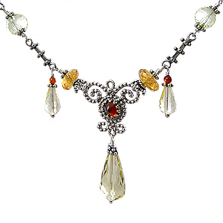 Upscale Bohemian Necklace in Citrine and Amber