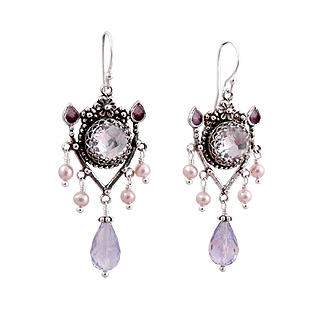 Upscale Bohemian Chandelier Earrings in Pink Amethyst