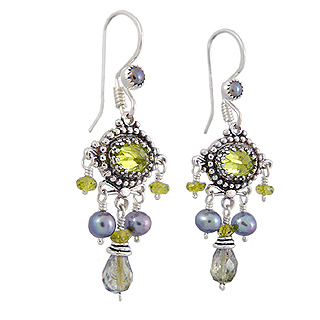 Upscale Bohemian Chandelier Earrings in Green Tourmaline