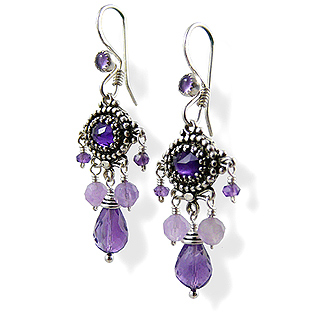 Upscale Bohemian Chandelier Earrings in Amethyst and Sterling Silver