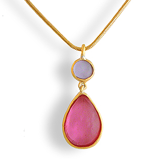 Pink Artisan Glass and Gold Plated Tear Drop Pendant