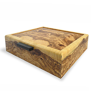 Olive Ash Burl Wood Men's Valet Box
