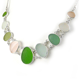 Sea Glass Double Link Sterling Silver Necklace