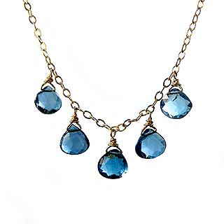 Handmade London Blue Topaz Teardrop Necklace on 14K Gold Fill