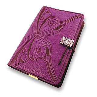 Purple Butterfly Refillable Embossed Leather Journal