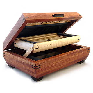 Handmade Wooden Two-Level Jewelry Box