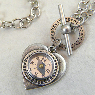 Heart and Compass Pendant