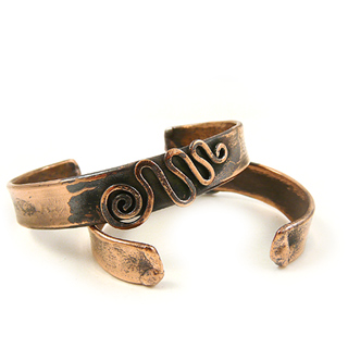 Recycled Copper Unisex Cuff Bracelet - Meandering Spiral