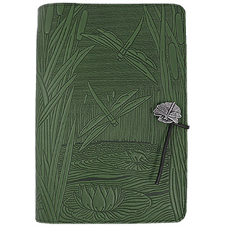 Dragonflies Pond Refillable Embossed Leather Journal