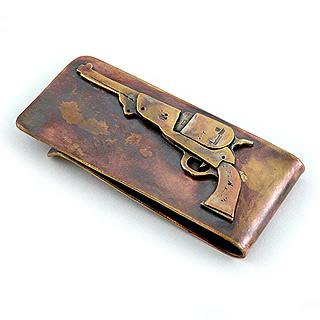 Handcrafted Bronze Revolver Money Clip
