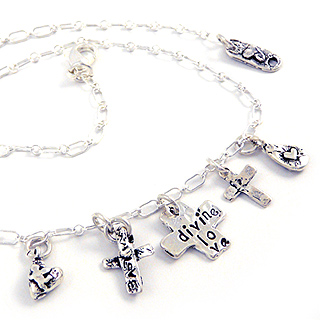 Three Crosses Charm Necklace