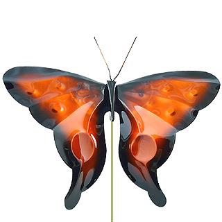 Copper Butterfly Garden Stake in Orange