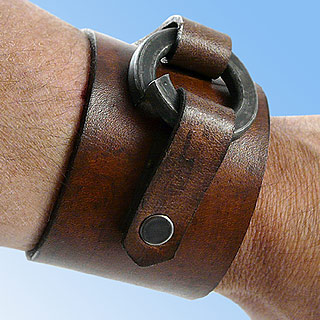 Men's Wide Leather Cuff Bracelet with Hardware