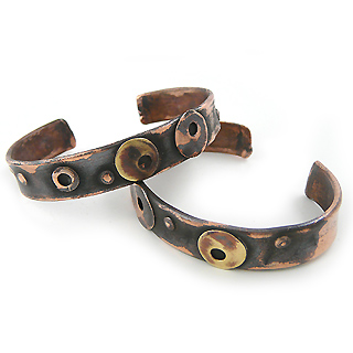 Recycled Copper Unisex Cuff Bracelet - Morphic Circles