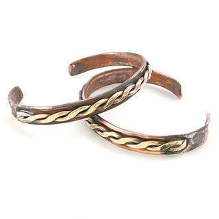 Recycled Copper Unisex Cuff Bracelet - Celtic Braid