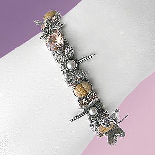 Swarovski Crystal and Jasper Dragonfly Bracelet