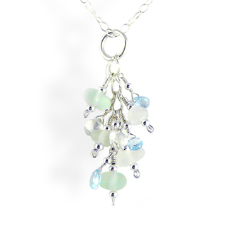 Sea Glass Drop Necklace - Seafoam Tones