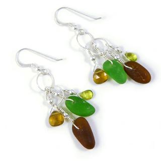 Sea Glass Drop Earrings - Earth Tones