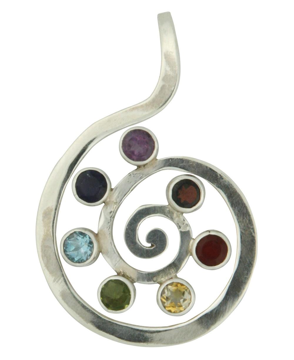 Sterling Silver Chakra Gemstone Spiral Pendant
