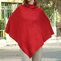 Alpaca blend poncho, 'Red Riding Hood'