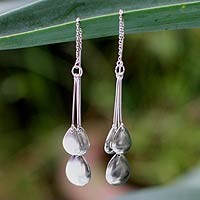 Sterling silver dangle earrings, 'Silver Dew'