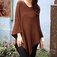 100% alpaca poncho, 'Splendid Earth'