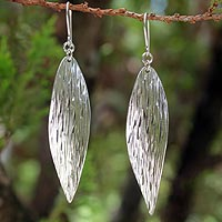 Sterling silver dangle earrings, 'Snow Wind'