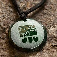 Jade pendant necklace, 'Ee Maya Destiny'