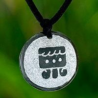 Jade pendant necklace, 'I'x, Maya Femininity'