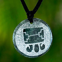 Jade pendant necklace, 'Tijax, Maya Warrior'