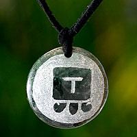 Jade pendant necklace, 'Iq, Maya Wind Spirit'