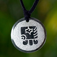Jade pendant necklace, 'Kej, Maya Deer'