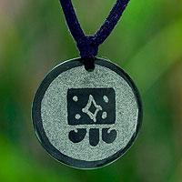 Jade pendant necklace, 'Q'anil Maya Harvest'
