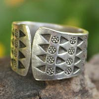 Sterling silver wrap ring, 'Mountain Wildflowers'