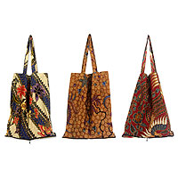 Cotton batik tote bags, 'Jawadwipa Legacy' (set of 3)