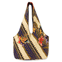 Beaded cotton batik shoulder bag, 'Jogjakarta Legacy'