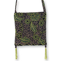 Beaded cotton batik shoulder bag, 'Midnight Java'