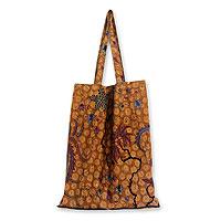 Cotton batik foldable tote bag, 'Madura Legacy'