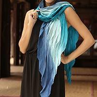Batik scarf, 'Blue Magnificence'