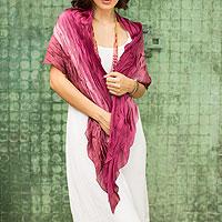Batik scarf, 'Rose Magnificence'