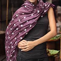 Batik scarf, 'Purple Polka Retro'